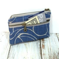 Navy Blue Coin Purse, Small Zipper Wallet, Change Purse, Card Holder, Metal Zipper Close
