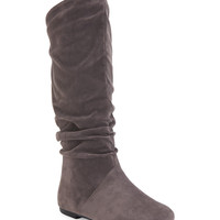 Blue Suede Shoes Faux Suede Scrunched Boot