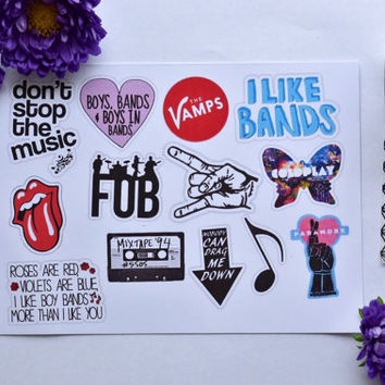 band addict stickers / laptop sticker / iphone sticker /music stickers / fall out boy, 5SOS, cold play, paramore, 1Direction stickers