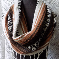Chestnut Mexican Blanket Large Cowl Scarf With Fringe- Free Shipping to Continental US