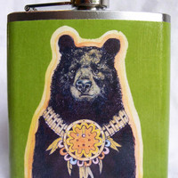 American Indian Flask  Evening Bear  Green Version by Bloodlines