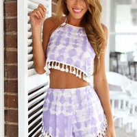 Printed Halter Backless Fringed Chiffon Cropped Top Shorts Set
