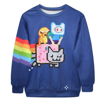 New Fashion Womens Adventure time 3d Printed Emoji Sweatshirt