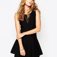 Suncoo Carah Knitted Skater Dress With Mesh Insert