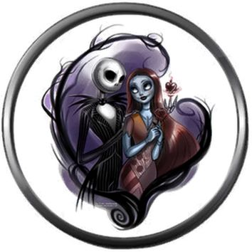 Nightmare Before Christmas Jack Skellington And Sally In Purple Heart 18MM - 20MM Charm for Snap Jewelry