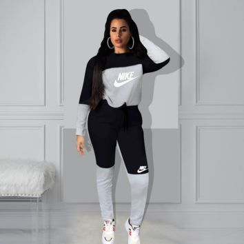 NIKE Women Fashion Casual Multicolor Letter Pattern Print Long Sleeve Trousers Set Two-Piece