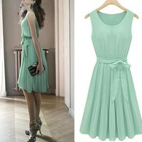 Womens Fashion Vintage Korean Pleated Sleeveless Belted Chiffon Dress S M L XL Z