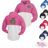 Monogrammed Contrasting Colored Panel Hoodie at The Pink Monogram