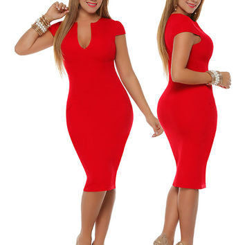 Red Knee Length Pencil Dress