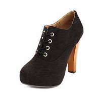 Sueded Lace-Up Bootie: Charlotte Russe