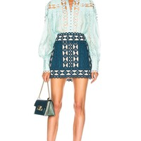 Teal Cutout Studded Mini Skirt