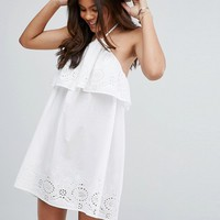 ASOS TALL Beach Halter Broderie Sun Dress at asos.com