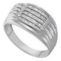 Diamond Cluster Mens Ring in 10k White Gold 0.53 ctw