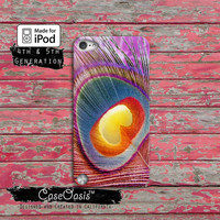 Peacock Pink Feather Cute Rainbow Cool Bird Tumblr Case iPod Touch 4th Generation or iPod Touch 5th Generation Rubber or Plastic Case
