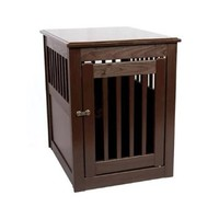 Dynamic Accents Medium Size End Table Pet Cage With Waterproof Crate Floor - Mahogany