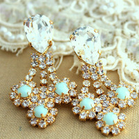 Chandelier Mint and white Swarovski Rhinestones,Bridal earrings,Christmas gift, gift for woman - 18K Gold plated Crystal earrings