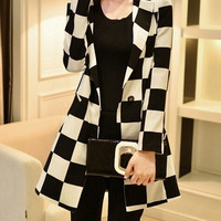 Autumn Fashion Formal Polyester Long Sleeve Notched Single Button Plaid Womens Suit Jackets = 1931757764