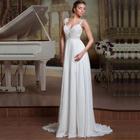 Simple Backless Lace  Wedding Dress
