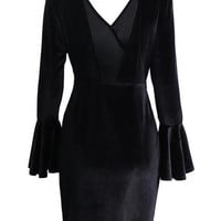 Black Wrap V-neck Backless Flared Sleeve Velvet Bodycon Dress