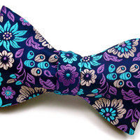 Handmade Silk Floral Bow Tie - 'Blueberry Blossoms'