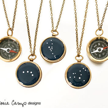Small Working Compass Necklace with Personalized Constellation, Custom Zodiac, Brass Chain, Birthday Gift, Bridal Party Gifts