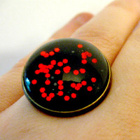 Black and Red Galaxy Jewelry Glass Glitter Dome Ring Outer Space Jewelry Sci Fi Fantasy Jewelry Geekery Fashion Costumes