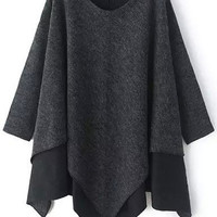 Grey Contrast Long Sleeve Asymmetrical Sweater