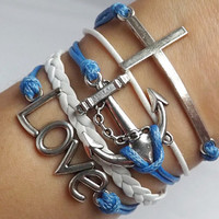 Antique Silver Cross - anchor - love the woven leather bracelet