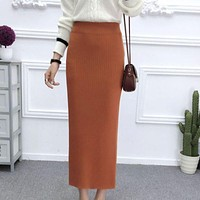 Autumn Winter Skirts Womens Vintage Style Elastic High Waist Solid Color Knitted Split Long Paragraph Skirts