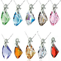 Colored Austrian Crystal Diamond Pendant Dolphin Lovers Necklace Jewelry-Color Silver