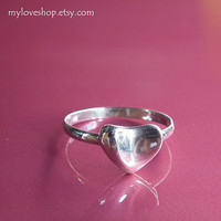 Heart silver ring - 92.5 Sterling Silver Ring - Chose one from size 5 - 9