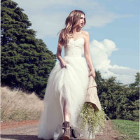 2016 Vestidos De Novia 2016 Sexy A Line Hippie Wedding Dresses Sweetheart Simple Wedding Dress Bridal Gown Casamento