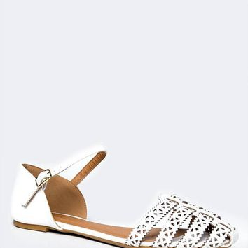 POINTED TOE ANKLE STRAP FLAT