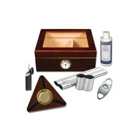 50-Cigar Glass Top Humidor in Mahogany with Accessories