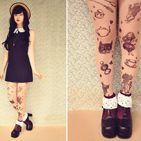 Alice in Wonderland Tattoo Tights