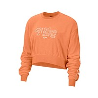 Nike Women's NSW Retro Femme Terry Cropped Crew Orange Sweatshirt