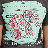 Paisley Elephant Tee | Southern Couture