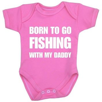 BabyPrem Baby Fishing with My Daddy Fun Clothes Bodysuit Vest One-Piece PINK 3-6
