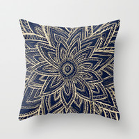 Cute Retro Gold abstract Flower Drawing on Black Throw Pillow by Girly Trend