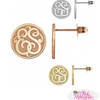 Double Initial Recessed Classic 10mm Stud Earrings