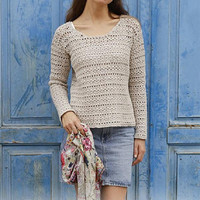 Summer sweater women sweater cotton merino sweater spring sweater lace crochet top knitted sweater pink cotton sweater beige top blue Lilith