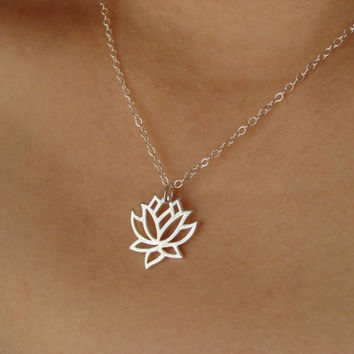 Silver Lotus Flower Necklace