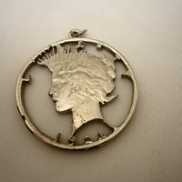 1922 LADY LIBERTY Cut out Coin with Pendant