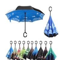 Reverse Umbrella Folding Double Layer Inverted Windproof C Handle Windproof Rain Car Umbrellas For Women Rain Gear