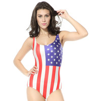 Beach Wear World Flags Usa Digital Printed Bathing Suit Women Swimwear One Piece Swimsuit