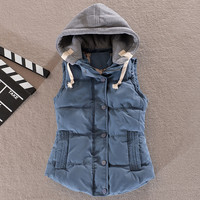 Detachable Hooded Cotton Vest Women Thickening Cotton Wadded Waistcoat Woman Vest Waistcoat Plus Size L - 6XL Free Shipping
