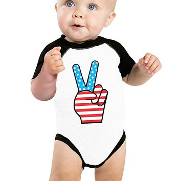 American Flag Peace Baby Black And White BaseBall Shirt