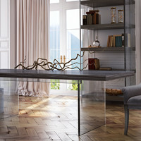 Berlin Pine and Lucite Modern Dining Table