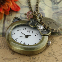 Hello kitty pocket watch necklace with crystal charm by mosnos