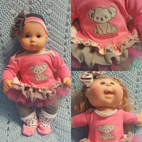"Baby Doll Clothes ""Koala Kutie"" (15 inch) doll outfit Will fit Bitty Baby® Bitty Twins®  dress, leggings, socks, headband"